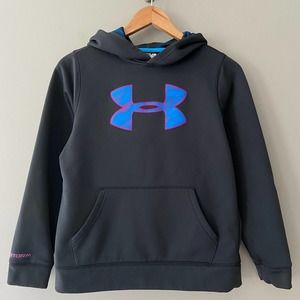 Under Armor Girls' Storm Tech Fleece Lined Hoodie with Middle Logo Medium